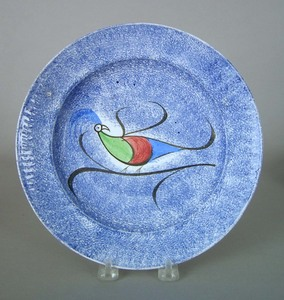 Blue spatter plate, 19th c., with peafowl, 9 1/2