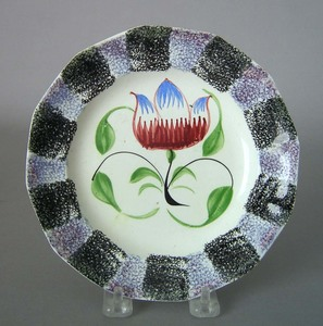 Purple and black rainbow spatter plate, 19th c., w