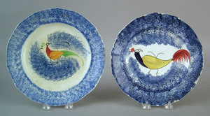 Two blue spatter plates, 19th c., with peafowl dec