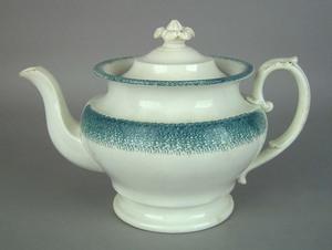 Teal spatter teapot, 19th c., 7