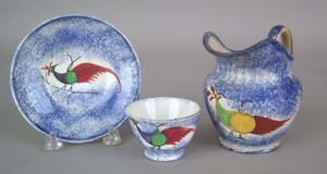 Miniature blue spatter cup and saucer, 19th c., wi