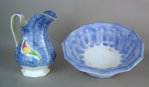 Blue spatter pitcher, 19th c., with peafowl decora