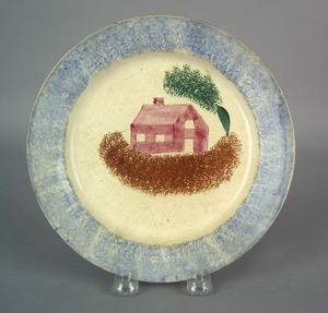 Blue spatter plate, 19th c., with school house, 8/