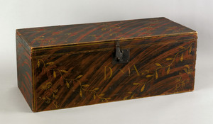New England painted pine lock box, 19th c., with v