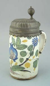 Delft tankard, mid 18th c., with pewter lid and po