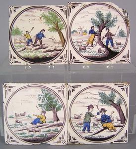 Four Delft polychrome decorated tiles, 18th c., ea