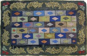 American hooked rug, late 19th c., in a geometrica