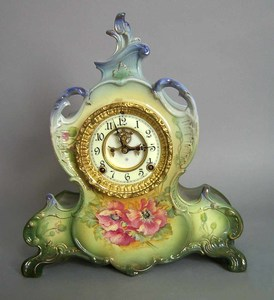 Ansonia porcelain mantle clock with Royal Bonn