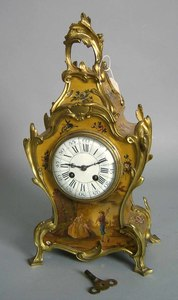 French painted mantle clock with ormolu mounts, 16