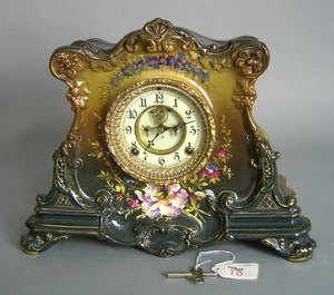 Ansonia porcelain mantle clock with Royal Bonn cas