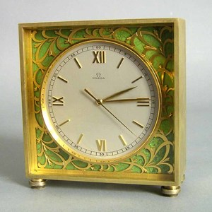 Swiss Omega square 8-day brass desk clock, #106006