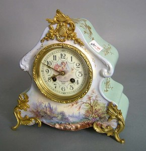 French porcelain mantle clock with ormolu mounts,e