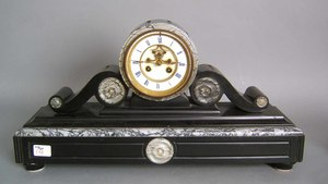 French black marble mantle clock by Henri Jullieni