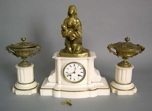 Japy Freres marble and bronze 3-pc. clock garnitur