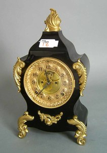 Ansonia 8-day ebonized shelf clock with brass moun