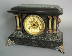 Seth Thomas faux marble shelf clock, 11 1/2