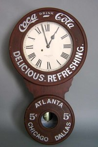 Reproduction 1896 Baird advertising clock for Coca
