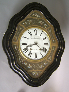 French wall clock, late 19th c., inscribed
