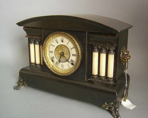 Gilbert faux-marble and mahogany mantle clock, 12