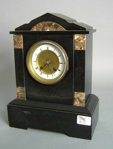 Black marble 8-day shelf clock, late 19th c., 13 1