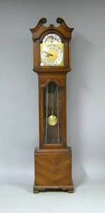 Colonial cherry tall case clock, 78 1/2