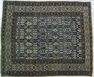 Caucasian throw rug, 19th c., with Kufic border, 4