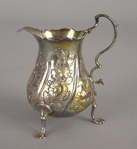 English silver gilt repousse creamer 1757-1758, be