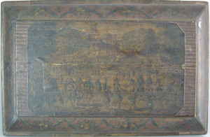 English lithograph and wallpaper covered dresser b