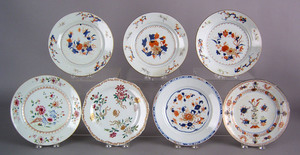 Seven Chinese export porcelain plates, late 18th/e