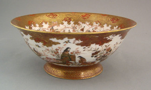 Satsuma bowl, 19th c., the interior decorated with