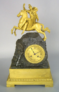 French gilt bronze mantle clock, early 19th c., wi