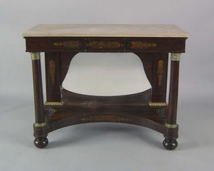 Classical mahogany pier table, ca. 1825, the marbl