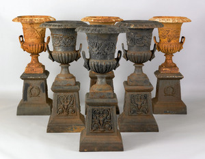 Set of 6 cast iron garden urns, late 19th c., each