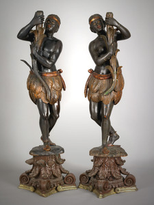 Pair of carved and painted blackamoor figures, 19t