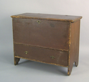 New England painted pine blanket chest, ca. 1750,e