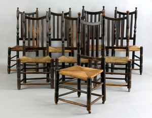 Assembled set of 8 New England Queen Anne maple ba