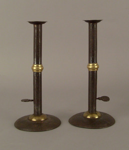 Pair of hogscraper candlesticks, early 19th c., wi