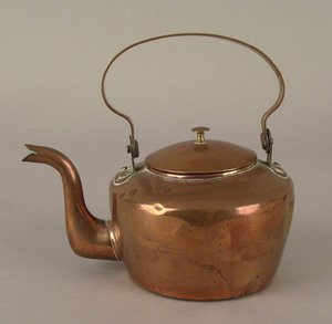 American miniature copper kettle, 19th c., the han