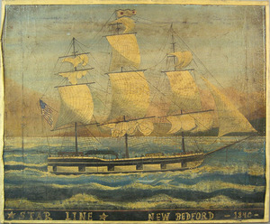 American oil on canvas ship portrait, 19th c., ins