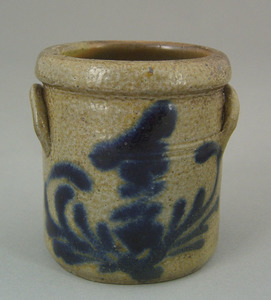 Miniature stoneware crock, 19th c., with double si