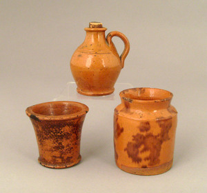 Two miniature redware crocks, 19th c., tallest - 2