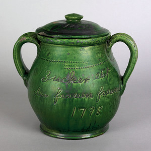 Pennsylvania redware covered sugar dated 1798, ins