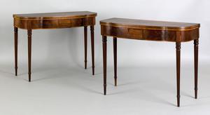 Pair of New York Federal mahogany card tables, ca.