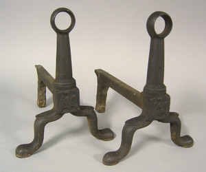 Three pairs of cast iron andirons, early 19th c.,n