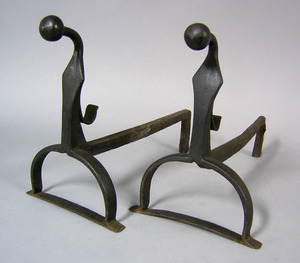 Two pair of cast and wrought iron andirons, mid 18
