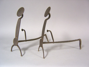 Three pair of wrought iron andirons, late 17th/18t
