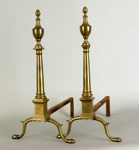 Pair of New York Federal brass andirons, stamped