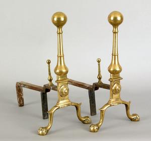 Pair of Newport, Rhode Island brass andirons, ca.7