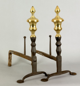 Pair of American or English wrought iron andirons,