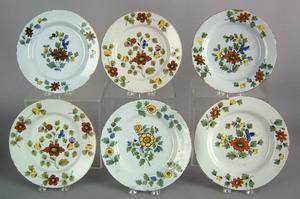 Six Delft Fazackerly plates, mid 18th c., 8 3/4